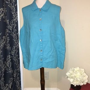 Flax Sleeveless Blue Button Front Blouse Lagenlook